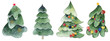 .Set of four watercolor christmas trees. Christmas composition of pines, green garlands..Set of four watercolor christmas trees. Christmas composition of pines, green garlands.