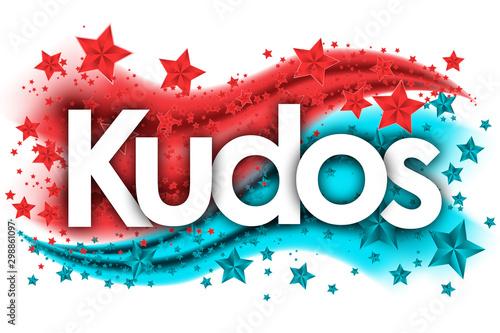Kudos word in stars colored background Fototapeta