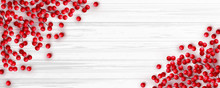 Christmas Red Holly Berry On White Wooden Background