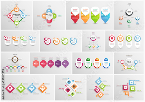 Valokuvatapetti Big collection of colorful infographic