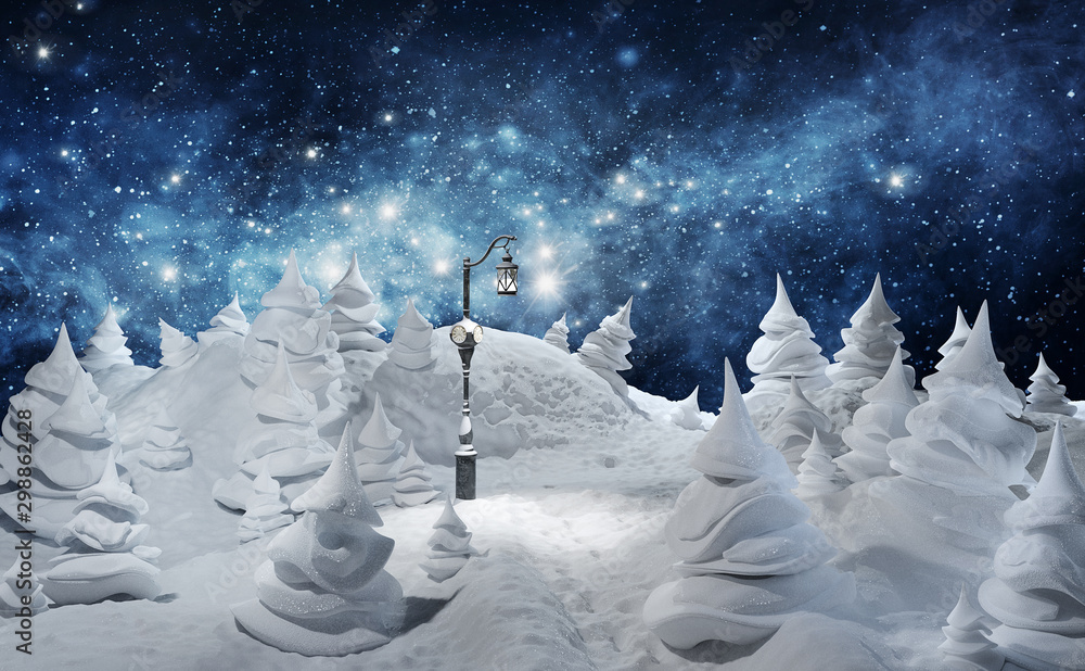 Fototapety, obrazy: Winter. Christmas greeting card template 3d rendered illustration. Merry Christmas. Winter holiday landscape with snowdrifts and snowy fir trees. Ice nature background.