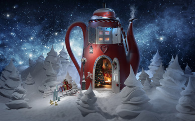 FototapetaWinter. Christmas greeting card template 3d rendered illustration. Amazing fairy house in tea pot decorated at christmas with opened door and fireplace inside in magical forest.