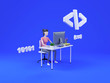 canvas print picture - Woman web developer working on freelance. Isometric illustration icon with web development for concept design. 3d render.