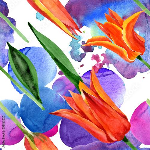 Deurstickers Paradijsvogel Orange tulip floral botanical flowers. Watercolor background illustration set. Seamless background pattern.