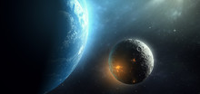 Human Settlement On Moon, Cities Seen From Space In Science Fiction Futuristic Space Scene, 3d Illustration