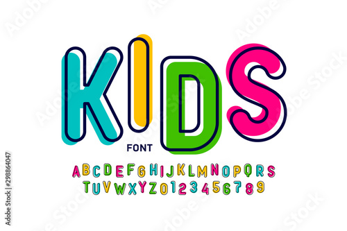 Kids style colorful font, playful alphabet letters and numbers