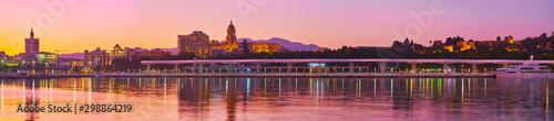 Panorama of evening Malaga from port, Spain