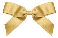 Gold Bow Isolated On White Background. Christmas Present Bow As Design Element