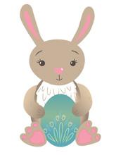 Cute Easter Rabbit Holding Egg...