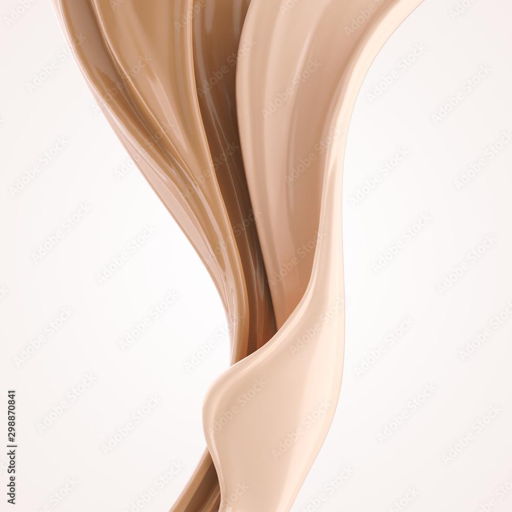 Fototapeta foundation splash cream for beauty cosmetic product, 3d illustration.