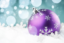Purple Christmas Ball With Sno...