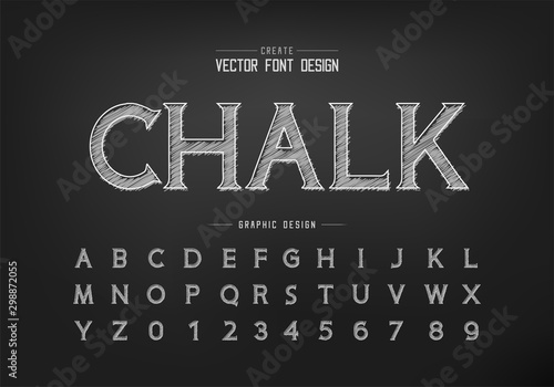 Photo Chalk font and alphabet vector, Hand draw idea typeface letter and number design