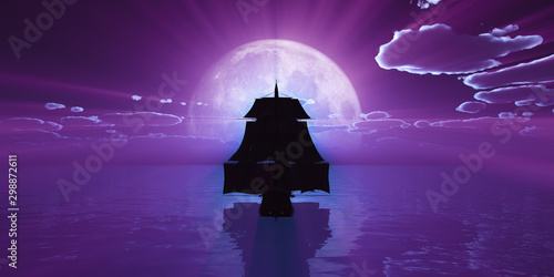 Recess Fitting Violet old ship at night full moon