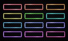 Colorful Neon Light Frames Set...