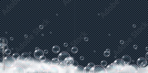 Soap foam bubbles isolated on transparent background Tablou Canvas