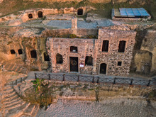 Aerial View Of The Church Of Piedigrotta And The Beach, Entirely Excavated In The Tufaceous Rocks, Located One Kilometer North Of Pizzo Calabro, In The «La Madonnella» Locality. Calabria. Italy