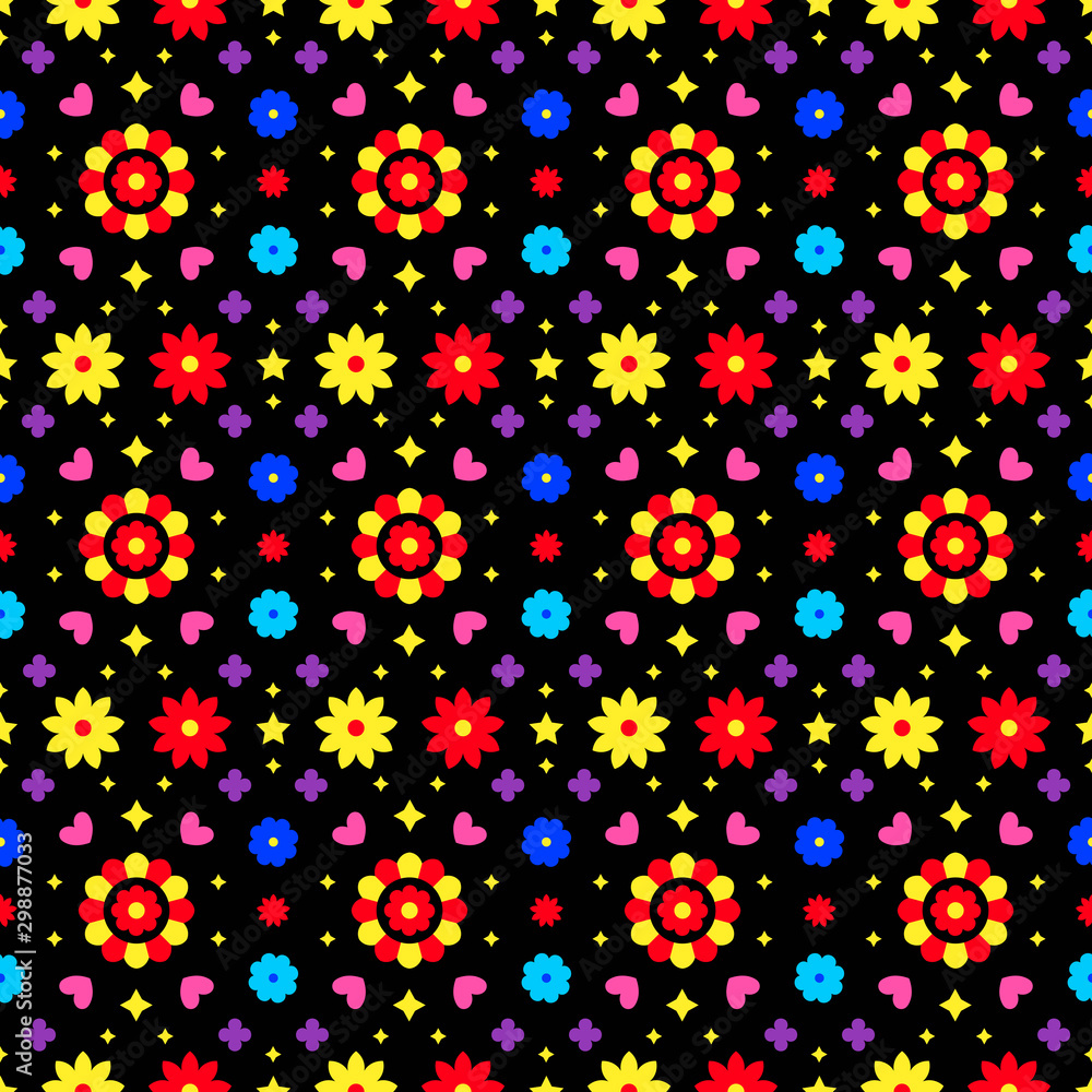 Mexican folk art seamless pattern with flowers on dark background. Traditional design for fiesta party. Colorful floral ornate elements from Mexico. Mexican folklore ornament.