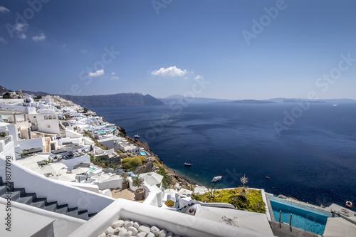 Fototapeta Oia city on Santorini island on a clear sunny day. obraz