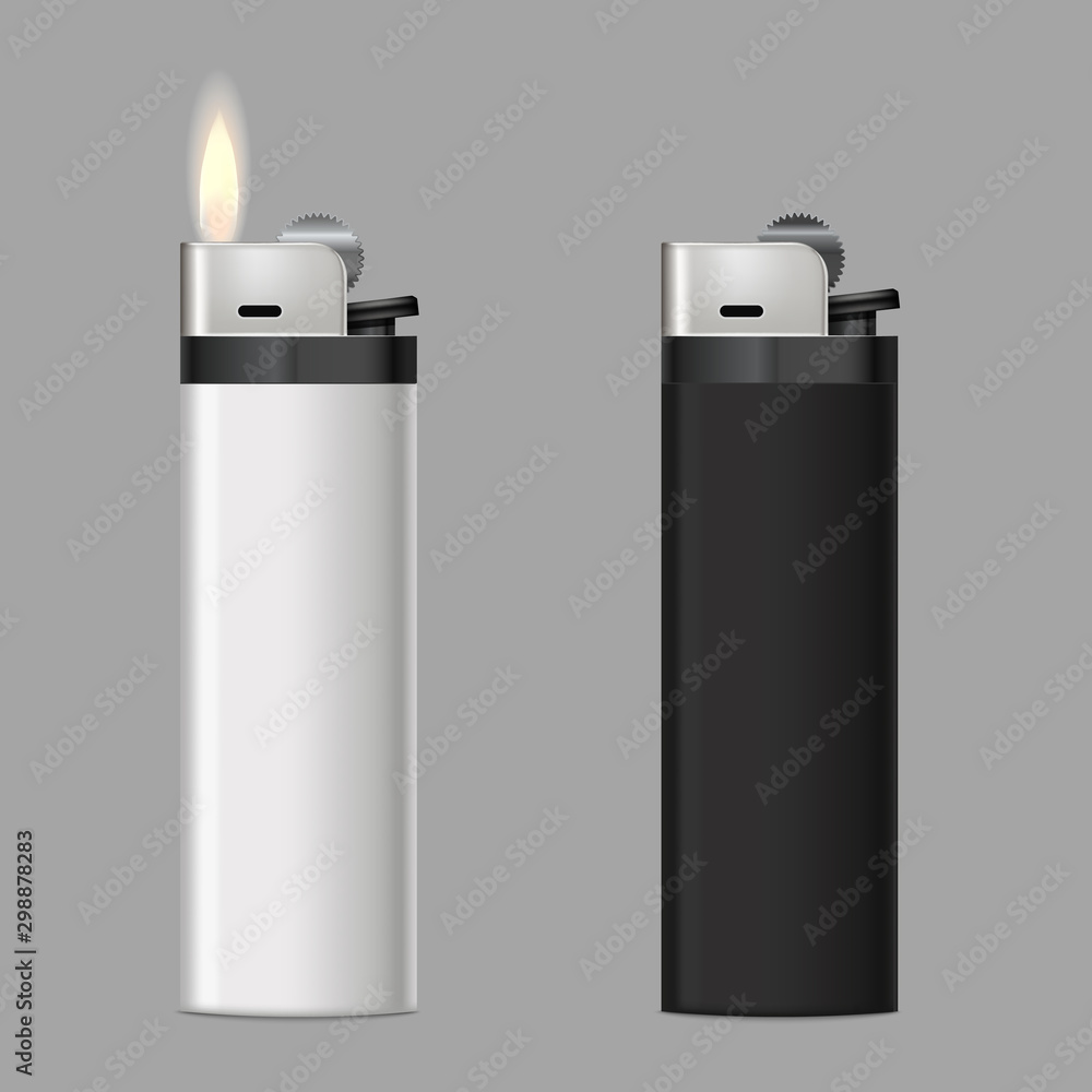 Fototapety, obrazy: Realistic 3d Detailed Burning Lighters Set. Vector