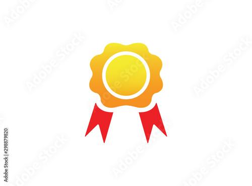 Photo accolades medallion with ribbon award logo design illustration on white backgrou