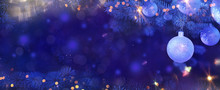 Christmas And New Year Holidays Background. Glitter Lights Backdrop. Winter Season. Text Space. Closeup Of Christmas-tree.