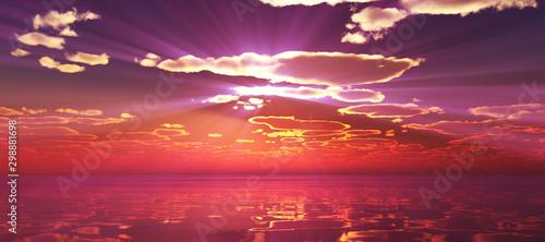 Montage in der Fensternische Hochrote Beautify sunset over sea, sun ray