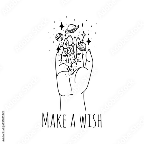 Make wish linear hand holding stars and planets vector illustration Tableau sur Toile