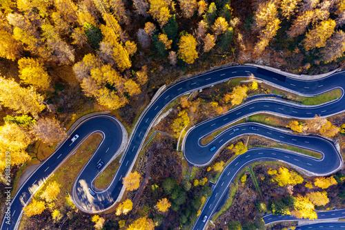 Fototapeta Val Bregaglia - Svizzera - Passo del Maloja - Vista aerea autunnale