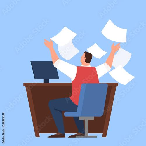 Cuadros en Lienzo Man having stress in deadline and overworking