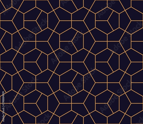 Türaufkleber Künstlich Vector ornamental seamless pattern. Gold and blue background and wallpaper in Arabic style. Geometric pattern. illustration for your design. ь