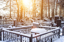 Winter Time. Cemetery With Monuments Under The Snow, Background, Graveyard