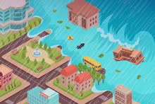 Flood Disaster Isometric Compo...