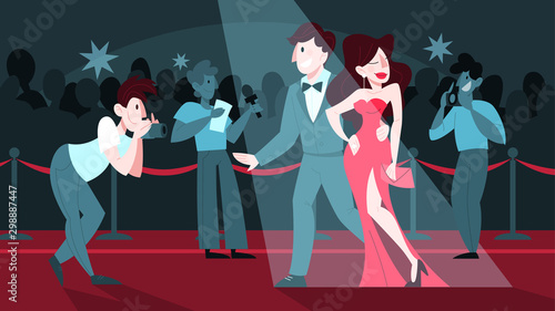 Fotomural Vector illustration of two celebrity on the red carpet