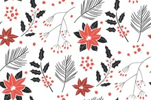 Merry Christmas, Happy New Year Seamless Pattern With Fir Cone, Holly Leaves And Berries For Greeting Cards, Wrapping Papers. Seamless Winter Pattern. Vector Illustration.