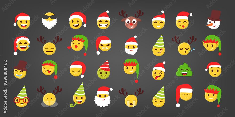Set of vector illustration of funny christmas emoji.