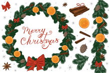 Beautiful Christmas Fir Wreath With Ribbons, Pine Cones, Cinnamon, Anise And Oranges. Beautiful Inscription Merry Christmas. Lettering. Calligraphy. Snowflakes. Seamless Brush. Vector Illustration.