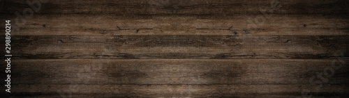 old brown rustic dark wooden texture - wood background panorama long banner - 298890214