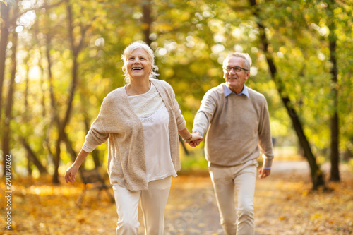 Fotomural  Happy senior couple in autumn park
