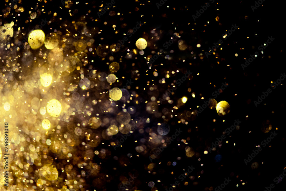 Fototapety, obrazy: golden glitter bokeh lighting texture Blurred abstract background for birthday, anniversary, wedding, new year eve or Christmas