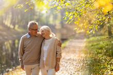 Happy Senior Couple In Autumn ...