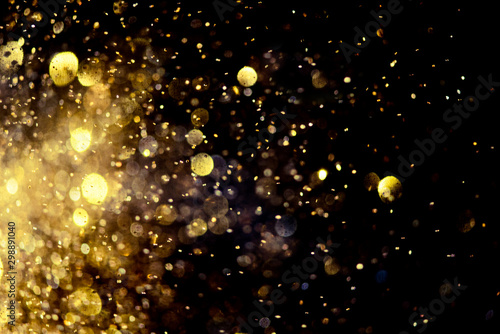 golden glitter bokeh lighting texture Blurred abstract background for birthday, Wallpaper Mural