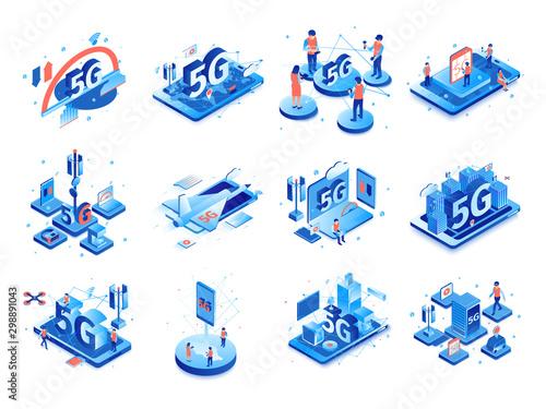 Fotomural  5G Internet Icon Set
