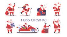 Set Of Cute Funny Santa Claus In Glasses Celebrating Christmas