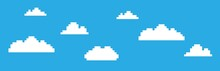 Pixel Video Game Cloud Background. 8-bit Concept. Vector Illustration In Retro Game Style.