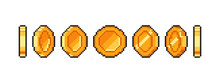 Pixel Gold Coin Animation For 16 Bit Retro Game. Vector Golden Pixelated Coins Isolated. Illustration Of Money 8 Bit.