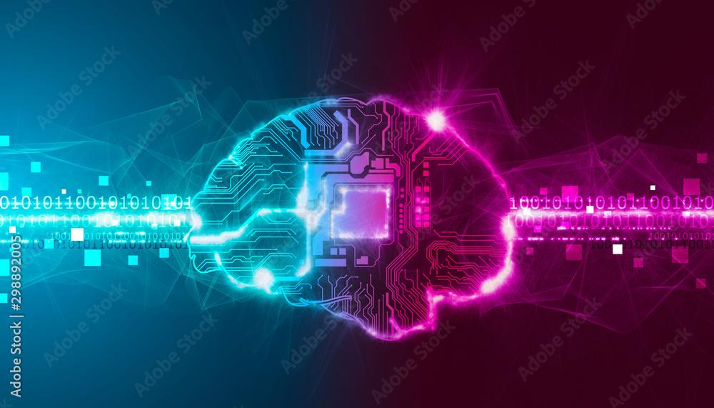Fototapety, obrazy: cervello, intelligenza artificiale, sinapsi, memoria, digitale,