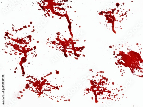 Autocollant pour porte Forme blood drops on white background