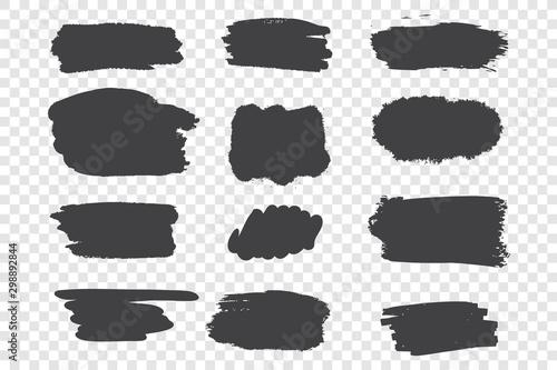 Black ink strokes vector illustrations set Canvas Print