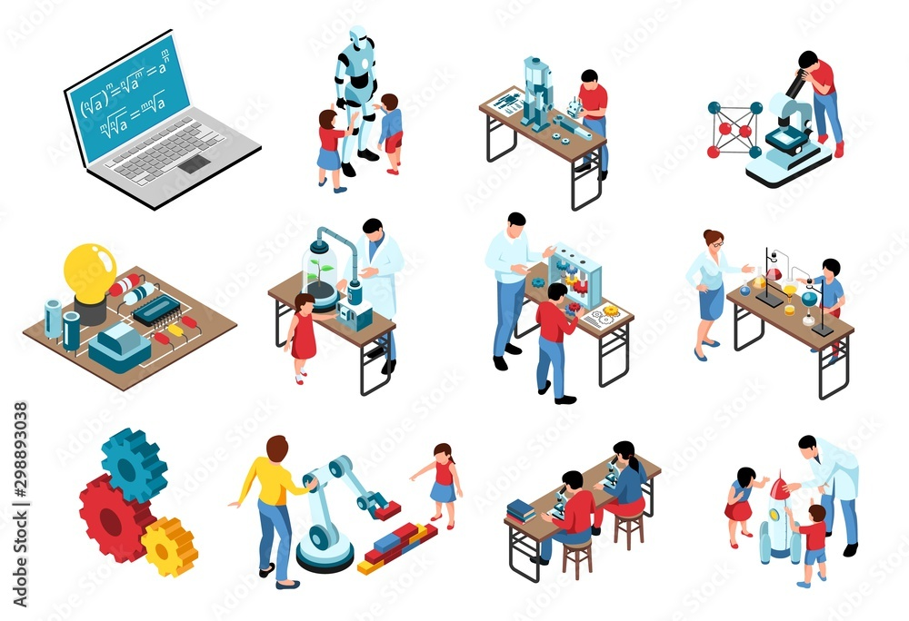 Fototapety, obrazy: STEM Isometric Icons Collection