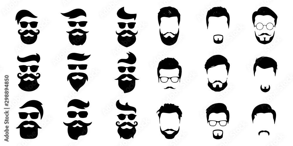 Fototapety, obrazy: bearded icon set Vector illustration white background